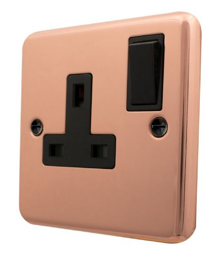 G&H CBC9B Standard Plate Bright Copper 1 Gang Single 13A Switched Plug Socket
